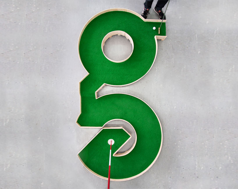 minature golf ollie willis designboom 07 Typographic miniature golf course by Ollie Willis