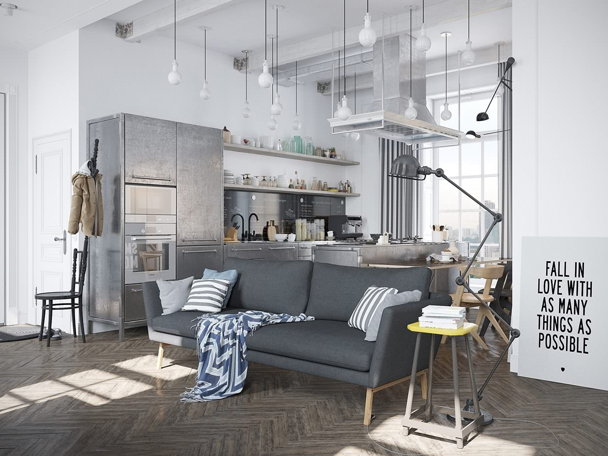 Scandinavian apartment with industrial elements by for Nordic inspired decor
